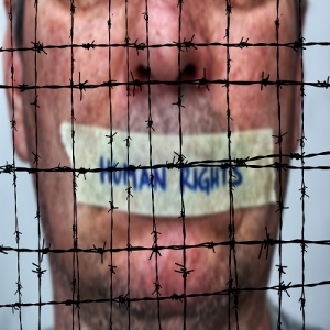 Human rights and Barbwire concept