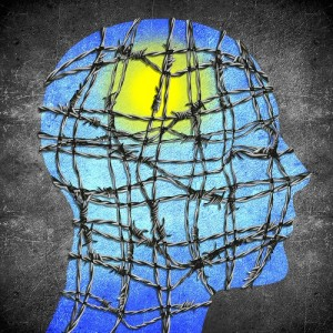 head silhouette with barbedwire sun and blue sky digital illustration