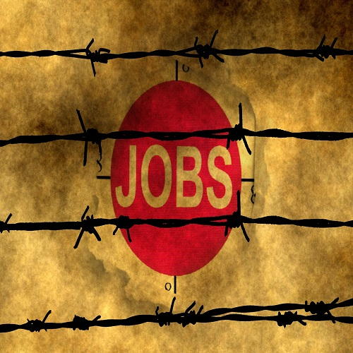 Jobs paper hole against barbwire