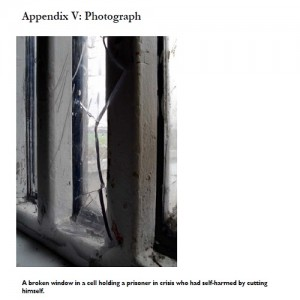 Wormwood scrubs broken window picture from 2015 report